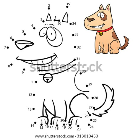 Vector Illustration of Education Numbers game Dog - stock vector