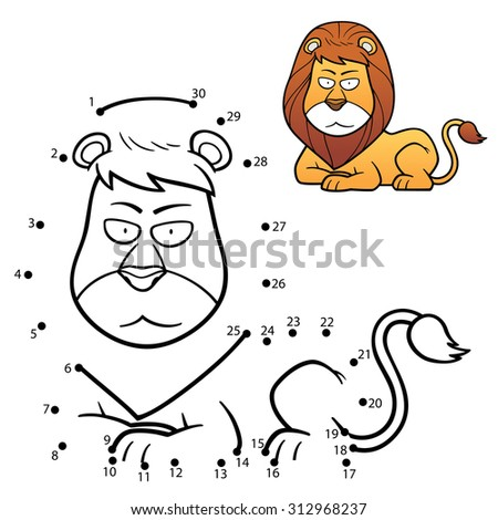 Vector Illustration of Education Numbers game the dot lion - stock vector