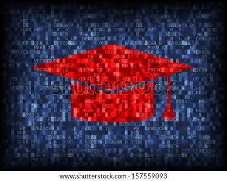 Vector illustration of education technology with graduation cap  - stock vector