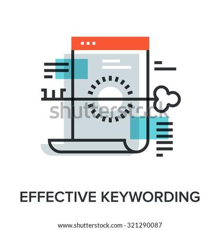 Vector illustration of effective keywording flat line design concept. - stock vector