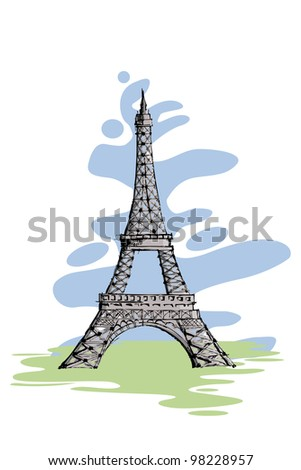 vector illustration of Eiffel tower against abstract background - stock vector