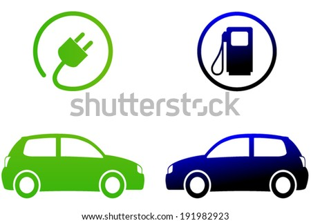 Vector illustration of electric car concept on white background - stock vector