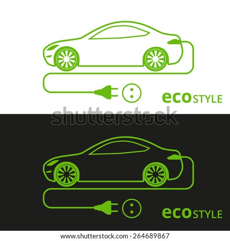 Vector illustration of electric car green icon on white and black background  - stock vector