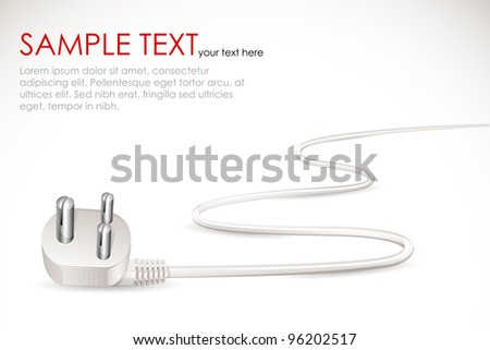 vector illustration of electric plug with cable - stock vector