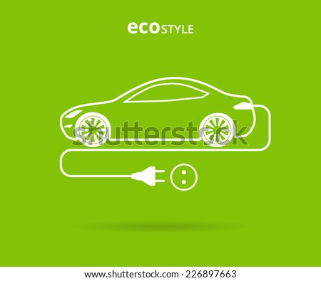 Vector illustration of electro car green icon. Line thickness fully editable - stock vector