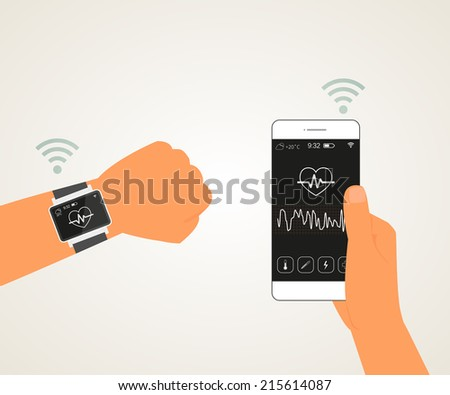 Vector illustration of electronic wrist watch controlling heartbeat connected with smartphone - stock vector