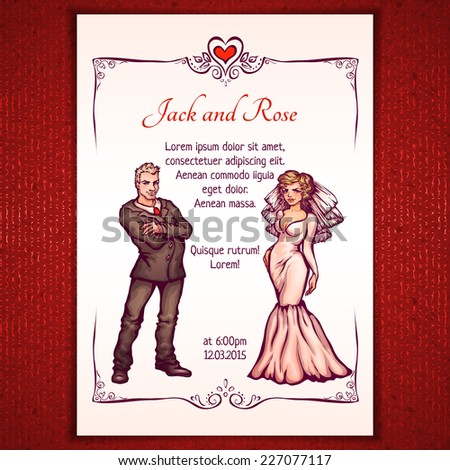 Vector illustration of elegant wedding invintantion with bride and groom. - stock vector