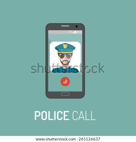Vector illustration of emergency police call with policeman icon on mobile telephone in trendy flat style - stock vector
