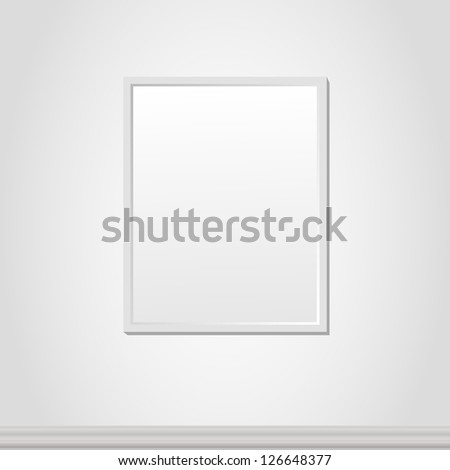 Vector illustration of empty frame over white wall background - stock vector