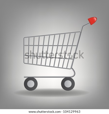 Vector illustration of  empty supermarket shopping cart icon isolated on white background. - stock vector