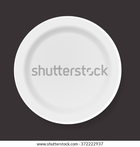 Vector illustration of empty white plate. Top view. - stock vector