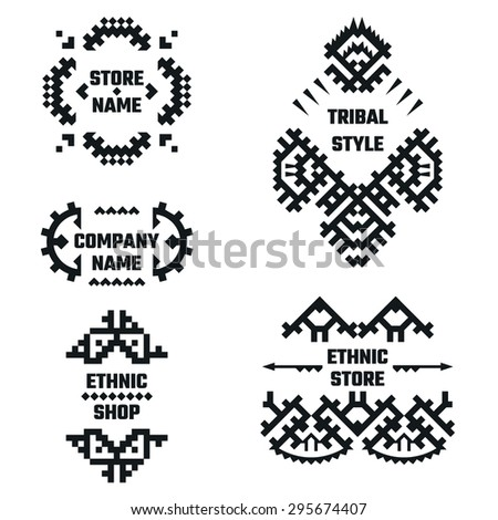 Vector Illustration of Ethnic Style for Design, Website, Background, Banner. Tribal Elements Black and White Template for Company Logo or Brand Concept - stock vector