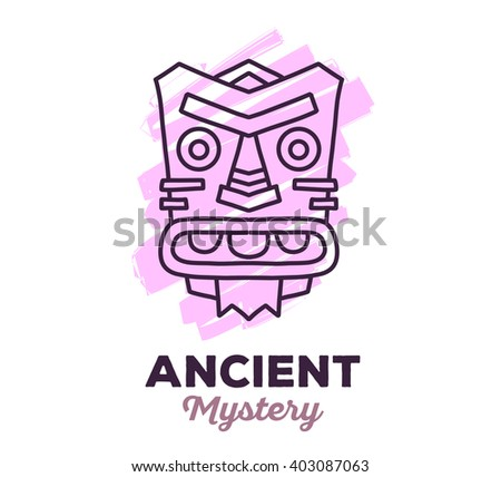 Vector illustration of ethnic tribal pink color mask with text on white background. Hand drawn line art design. Ethnic mask. Tribal mask. Vector mask. Mask eps. Mask line art. Ancient mask. - stock vector