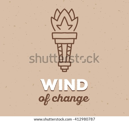 Vector illustration of ethnic tribal torch with white text on light brown sand texture color background. Hand drawn line art design. Ethnic torch. Tribal torch. Vector ethnic tribal torch line art. - stock vector