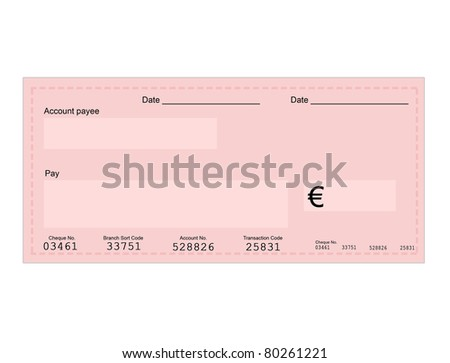 Vector illustration of euro check with space for your own text, vector illustration - stock vector