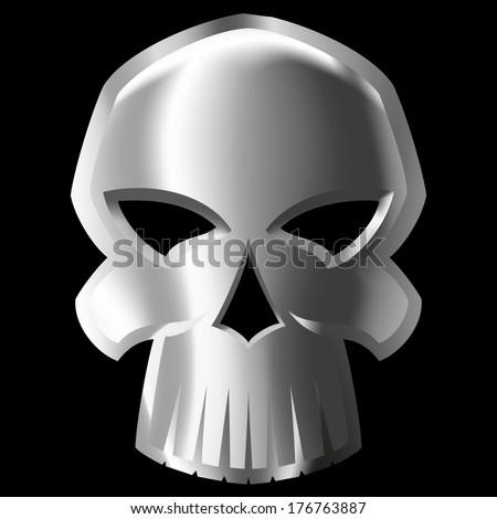 vector Illustration of evil metal skull over black background. gradient mash - stock vector