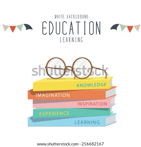 Vector Illustration of eyeglasses on top stack books. - stock vector