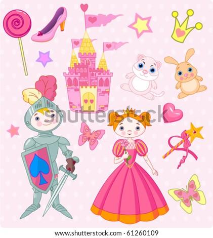 Vector Illustration of Fairy Tale design elements. - stock vector