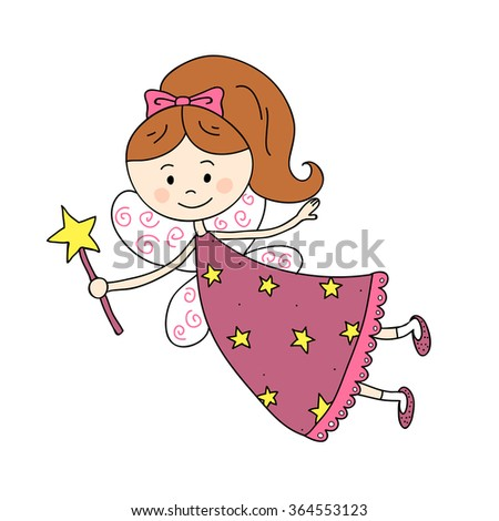 Vector illustration of fairy with magic wand on white background. - stock vector