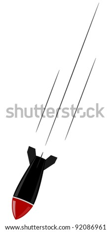 Vector illustration of falling bombs - stock vector
