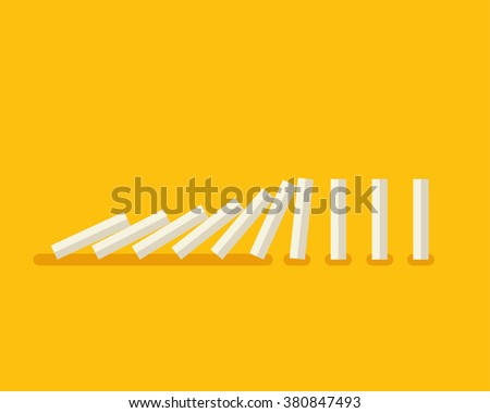 Vector illustration of falling white dominoes on yellow background  - stock vector