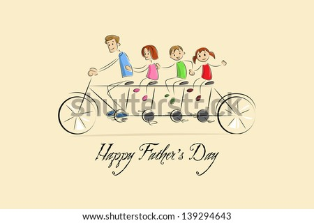 vector illustration of family enjoying tandem bicycle ride in Father's Day background - stock vector