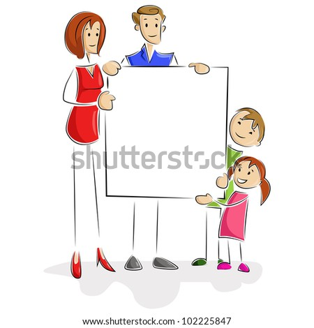 vector illustration of family holding blank board - stock vector