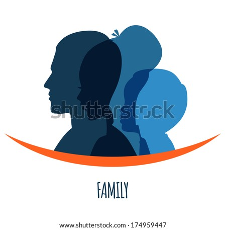 Vector illustration of Family icons head - stock vector