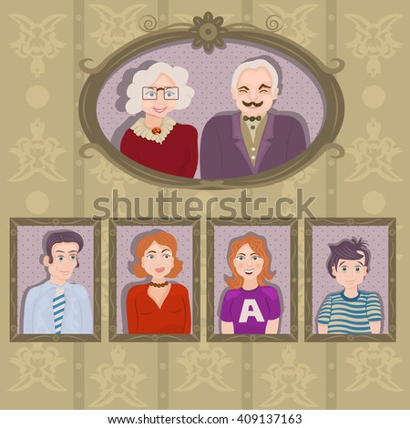 Vector illustration of family portraits in frames on the wall: Grandpa and grandma, father and mother, sister and brother. - stock vector