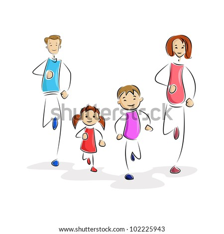 vector illustration of family running after each other - stock vector