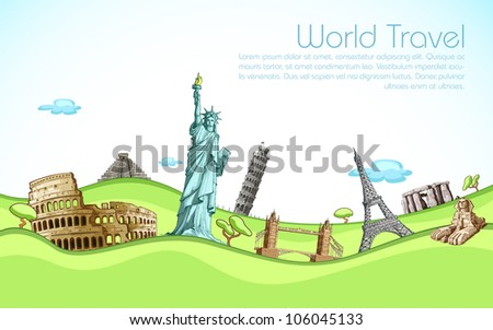 vector illustration of famous monument of world in field - stock vector
