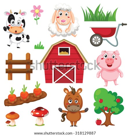 Vector illustration of farm animals and related items. - stock vector