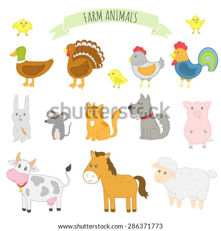 Vector illustration of farm animals: horse, cow, sheep, pig, chicken, cat, dog, duck, turkey.  Isolated characters. - stock vector
