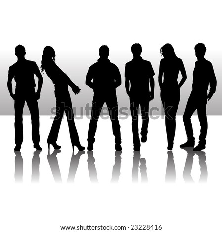 Vector illustration of fashion people silhouette - stock vector