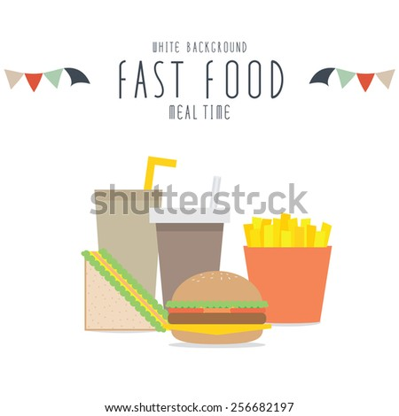 Vector Illustration of fast food collection. - stock vector