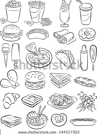 vector illustration of fast food collection in black and white - stock vector