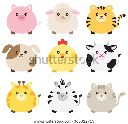 Vector illustration of fat animals including pig, sheep, tiger, dog, chicken, cow, giraffe, zebra and cat. - stock vector