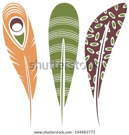 Vector illustration of feathers with tribal ornaments - in color - stock vector