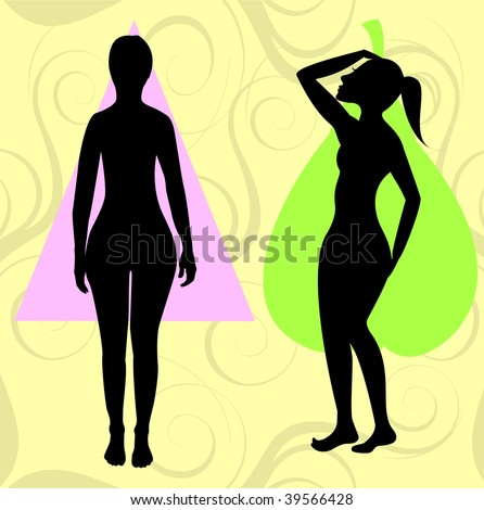 Vector Illustration of female body shape pear also known as bell, triangle and spoon. Shape with with larger curves at hip area. - stock vector