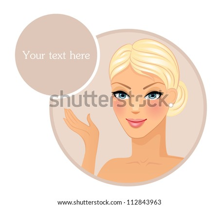 Vector illustration of Female face front - stock vector