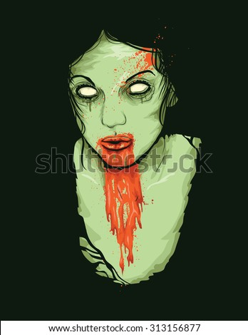 Vector Illustration of Female Zombie Girl with blood dripping from her mouth - stock vector