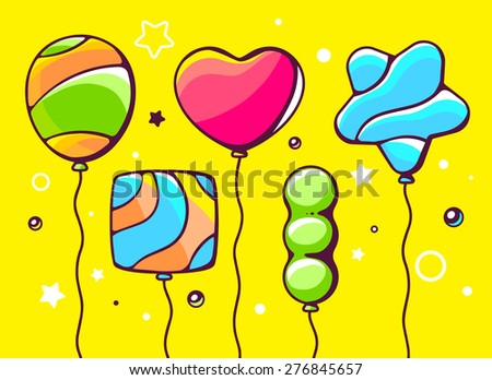 Vector illustration of festive set of colorful striped balloons on yellow background. Hand draw line art design for web, site, advertising, banner, poster, board and print.   - stock vector