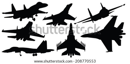vector illustration of fighter jet,war plane - stock vector