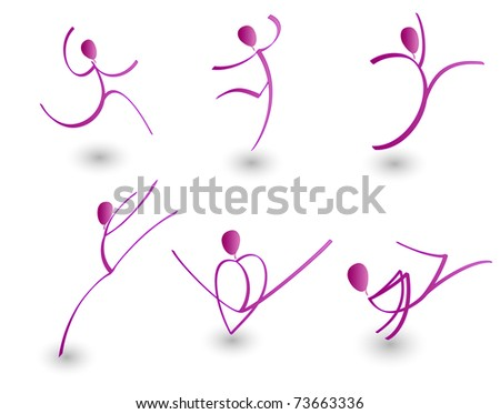 vector illustration of figures in motion - stock vector
