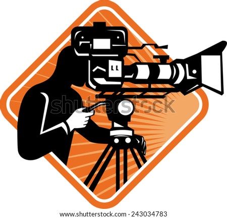 vector illustration of film crew cameraman shooting filming with movie camera viewed from side set inside diamond done in retro style.  - stock vector