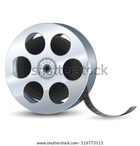 vector illustration of film reel against white - stock vector