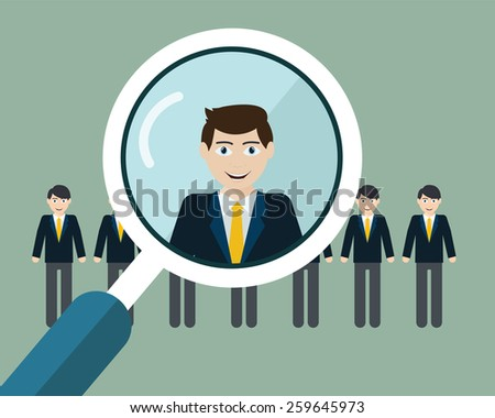 Vector illustration of finding professional staff with magnifying glass - stock vector