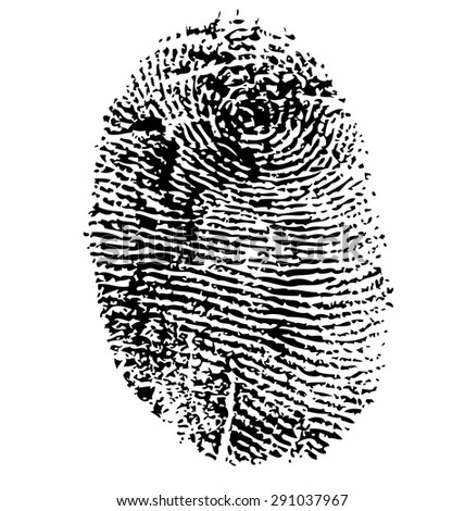 Vector illustration of fingerprint isolated on black - stock vector