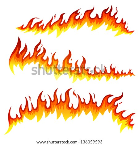 Vector Illustration of Fire Elements - stock vector