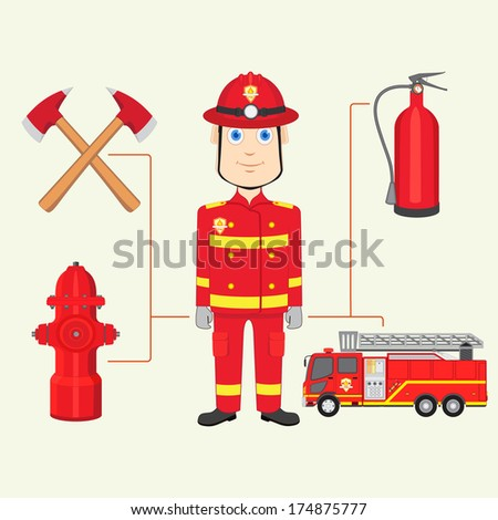 vector illustration of fireman with fire brigade - stock vector